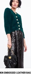 NEW WITH TAGS ZARA SNAKESKIN EMBOSSED LEATHER BAG